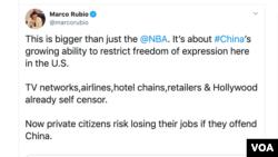 美国共和党籍联邦参议员马可·鲁比奥(Marco Rubio)星期一(10月7日)接连就休斯顿火箭队总经理达里尔·莫雷的推文事件发声。