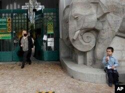 Seorang anak laki-laki duduk di depan Kebun Binatang Budapest, Hungaria, menunggu tempat rekreasi itu buka, Sabtu, 1 Mei 2021. (AP)