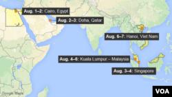 ښاغلی کېري به د قطر څخه وروسته سینگاپور، مالیزیا او ویتنام ته هم سفر وکړي