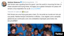 Tweet de António Guterres, Secretário-Geral da ONU em reacção à morte de Kofi Annan
