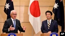 Thủ tướng Australia Malcolm Turnbull và Thủ tướng Nhật Shinzo Abe trong cuộc họp báo chung tại Tokyo ngày 18/1/18