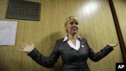 Yevgenia Chirikova, aktivis lingkungan dan tokoh oposisi, mencalonkan diri sebagai wali kota Khmiki, di pinggiran Moskow (foto: 14/10/2012).