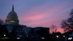 The Capitol Dome of the Capitol Building at sunrise, Feb. 9, 2018, in Washington.