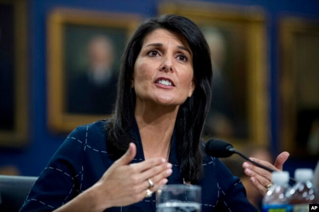 FILE - U.S. Ambassador to the U.N. Nikki Haley testifies on Capitol Hill in Washington, June 27, 2017.
