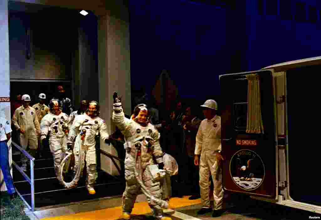 The Apollo 11 crew leaves Kennedy Space Center's Manned Spacecraft Operations Building during the pre-launch countdown in this July 16, 1969 NASA handout photo. Mission commander Neil Armstrong, command module pilot Michael Collins, and lunar module pilot