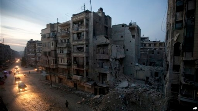 Syrian rebel-controlled area of Aleppo, with destroyed buildings, including Dar Al-Shifa hospital, a result of government airstrikes, Nov. 2012 (file photo).