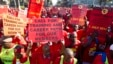 FILE - Members of the National Union of Metal Workers of South Africa (NUMSA) protest on the streets of Durban, July 1, 2014.