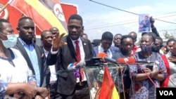 National Unity Platform party president Robert Kyagulanyi, aka Bobi Wine, addressed the media at party offices ahead of the party submitting a violations petition to the U.N. Human Rights office, in Kampala, Uganda, Feb. 17, 2021. (Halima Athumani/VOA)