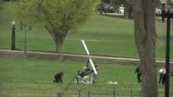 یک هلیکوپتر دست ساز در چمن کنگره آمریکا فرودآمد