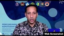 Mendikbud Nadiem Makarim dalam telekonferensi pers di Jakarta, Jumat (20/11). (Foto:VOA)