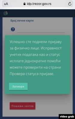 Portal Uprave za trezor na kojem se građani prijavljuju za pomoć od 100 evra