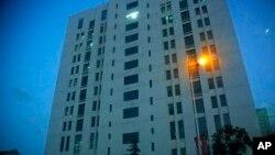 """Edifício que alberga a """"Unidade 61398"""" do Exército da Libertação do Povo em Shanghai, descrito como responsável por ciber-ataques contra empresas e governo americano, Fev 2013."""