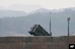 FILE - A U.S. Patriot missile is seen at the Osan U.S. Air Base in Pyeongtaek, South Korea, Feb. 13, 2016.
