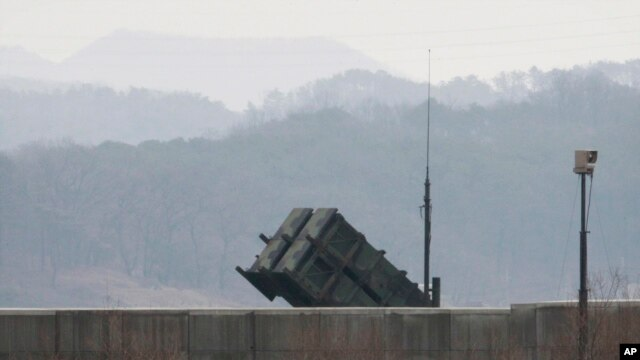 A U.S. Patriot missile is seen at the Osan U.S. Air Base in Pyeongtaek, South Korea, Feb. 13, 2016.