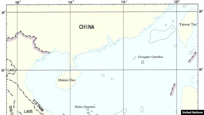 Bản đồ của Trung Quốc về đường lữoi bò 9 đoạn mà nước này tuyên bố chủ quyền trên biển Đông.