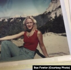 Sue Fowler poses at the Badlands National Park in the 1970s. She traveled with her parents to 48 of the 50 states.