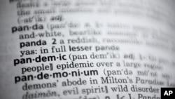 Reč pandemija u rečniku Merijam-Vebster u Vašingtonu.