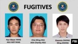 聯邦調查局正在緝拿的華裔蘋果手機詐騙集團的三名逃犯鍾曉敏、徐家名和楊孝元。 (聯邦調查局提供)
