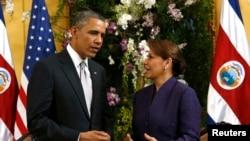 Tổng thống Barack Obama gặp Tổng thống Costa Rica Laura Chinchilla tại Casa Amarilla trong chuyến thăm tới San Jose, 3/5/2013 REUTERS/Kevin Lamarque