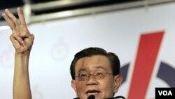 Deputi PM Singapura Wong berbicara pada kampanye akhir Partai Aksi Rakyat di Singapura, Kamis (5/5).