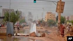 Une rue de Khartoum, après les manifestations de désobéissance civile dans la capitale soudanaise le 5 juin 2019.