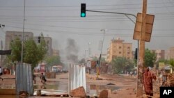 Wani yankin birnin Khartoum da ke nuna hayak na tashi. Ranar 5 ga watan Yuni, 2019.