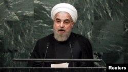 ປະທານາທິບໍດີ ອີຣ່ານ ທ່ານ Hassan Rouhani ກ່າວຕໍ່ກອງປະຊຸມ ສະມັດຊາໃຫຍ່ ສະຫະປະຊາຊາດ ຄັ້ງທີ 70. ສຳນັກງານໃຫຍ່ ສະຫະປະຊາຊາດ. 28 ກັນຍາ, 2015.