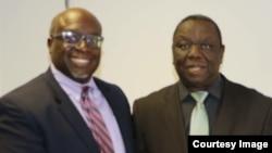 Morgan Tsvangirai and Harry Thomas Jnr. at Harvest House, Harare.