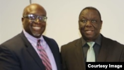 Morgan Tsvangirai and Harry Thomas Jnr. at Harvest House, Harare.