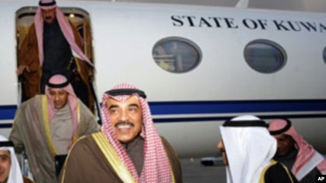Kuwait Foreign Affairs Minister Sabah Al-Khalid Al-Hamad Al-Sabah, arrives in Tunis, on February 23, 2012, to participate in the conference dedicated to the crisis in Syria.