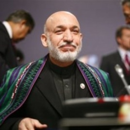 Afghan President Hamid Karzai at the Nato summit in Lisbon, Portugal, 20 Nov 2010