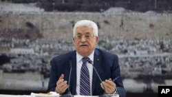FILE - Palestinian President Mahmoud Abbas talks during a leadership meeting in Ramallah.