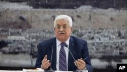 Tổng thống Palestine Mahmoud Abbas phát biểu trong một cuộc họp ở Ramallah, ngày 1/4/2014.