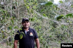 Arnobis Romero, a colombian coffee roaster, poses for a photo in the middle of a coffee plantation in San Lucas, Colombia February 26, 2020. Picture taken February 26, 2020. (REUTERS/Oliver Griffin)