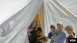 Refugiados sirios ubicados en un campamento, en Boynuyogun, Turquía.