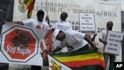 Zimbabwean opposition activists in the United States chose the South African embassy in Washington as the target of their latest protest demanding reforms in their home country.