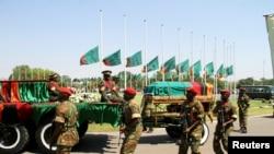 Upacara pemakaman Presiden Zambia Michael Sata di Lusaka, Selasa (11/11).