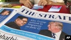 Naslovna strana novina u Singapuru sa najavom samita Donalda Trampa i Kim Džong Una