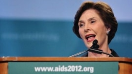 Former U.S. first lady Laura Bush speaks at the AIDS conference in Washington D.C., July 26, 2012.