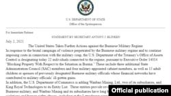 Mỹ áp đặt chế tài mới lên Myanmar ngày 2/7/2021.