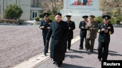FILE - North Korean leader Kim Jong Un inspects the Korean People's Army (KPA) Navy Unit 164 in this undated photo released by North Korea's Korean Central News Agency (KCNA) in Pyongyang, April 4, 2015.