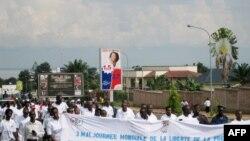 Des journalistes burundais manifestant à Bujumbura, Burundi, le 3 mai 2011.
