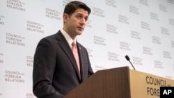 폴 라이언 미국 하원의장이 9일 공화당 '국가안보위원회'가 구상한 외교안보 의제를 발표하고 있다.