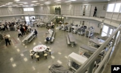 A unit of the Northwest Detention Center in Tacoma, Wash., Oct. 17, 2008. A human-rights group wants the federal government's prisonlike complex that holds suspected illegal immigrants closed, but the private company that owns and operates the 1,000-bed complex is working on a 30 percent expansion.