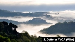 Mist shrouds the view from Celleno into a valley in Lazio, one of the central regions devastated by last week's quake.