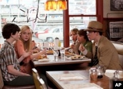 Left to right: Zach Millsl plays Preston, Elle Fanning plays Alice Dainard, Riley Griffiths plays Charles, Ryan Lee plays Cary, Joel Courtney plays Joe Lamb and Gabriel Basso plays Martin in SUPER 8, from Paramount Pictures.