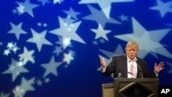 FILE - Donald Trump speaks to a group of Republican organizations at a Las Vegas hotel in 2011.