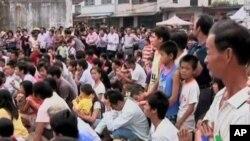 中國農村徵地經常引發群眾不滿示威(資料圖片)