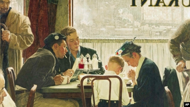 "The popular Norman Rockwell masterpiece ""Saying Grace,"" sold at auction at Sotheby's in New York for $46 million, Dec. 4, 2013."