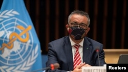 FILE - Tedros Adhanom Ghebreyesus, Director-General of the World Health Organization, attends a session on the coronavirus outbreak response of the WHO Executive Board in Geneva, Switzerland, Oct. 5, 2020. (Reuters)